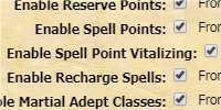 Spell Points & Recharge Spells